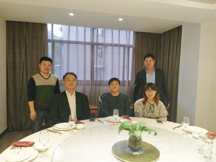 Korean clients visit our company and have a dinner in 2017.5